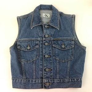 Vintage Calvin Klein Denim Jean Vest Small Blue